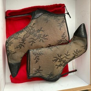 Christian louboutin sheer lace booties